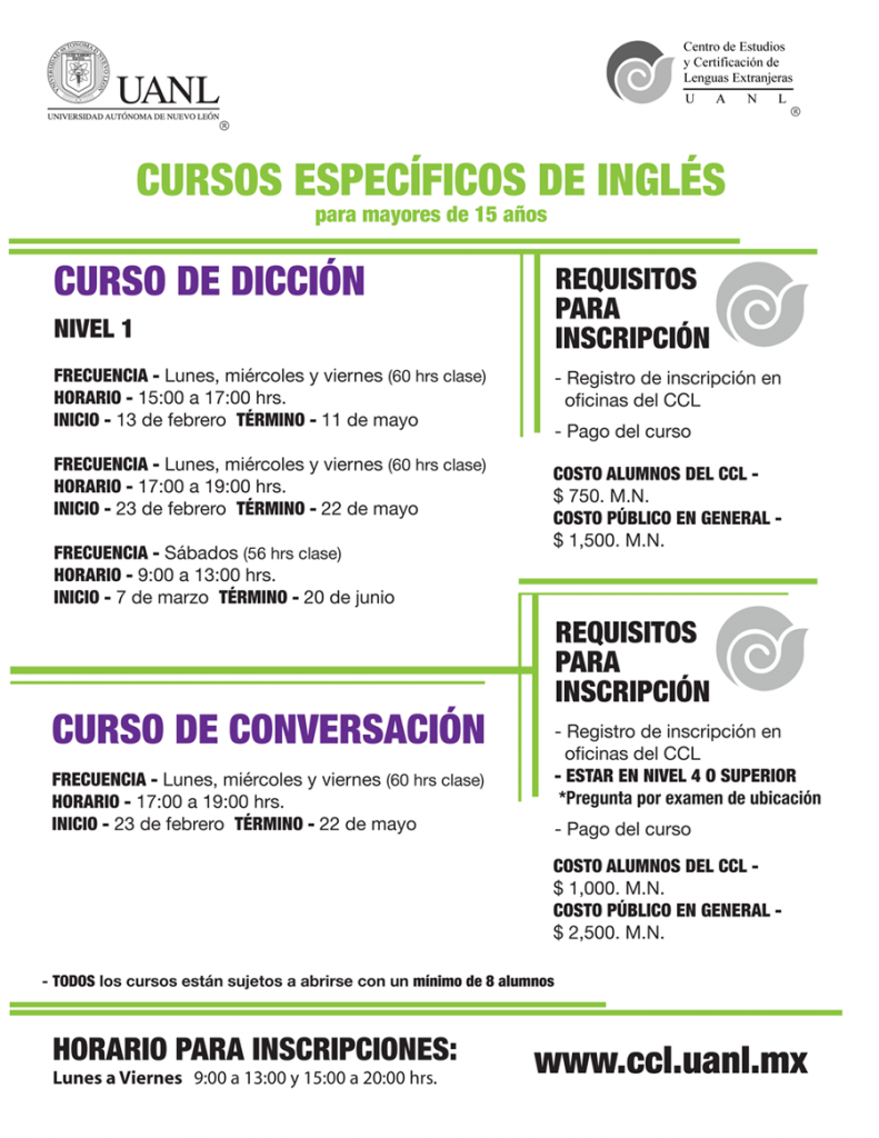cursos especificos ingles WEB