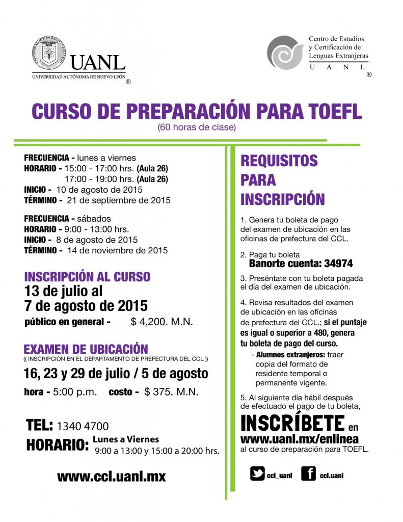 cursos TOEFL AGO2015