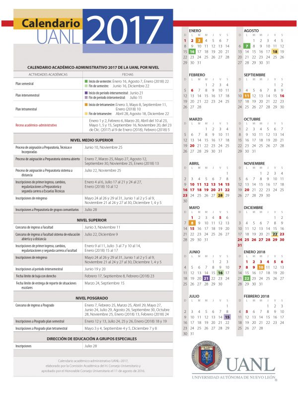 calendario UANL-2017-2018