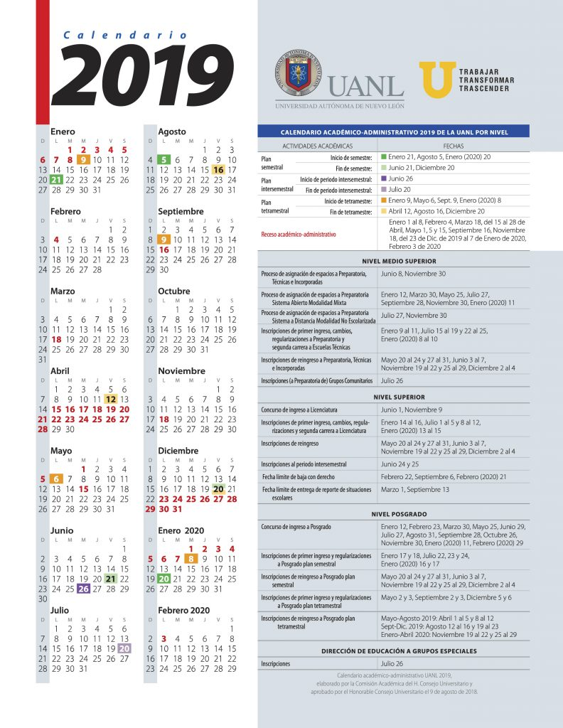 Calendario Laboral Ua.Calendario Uanl