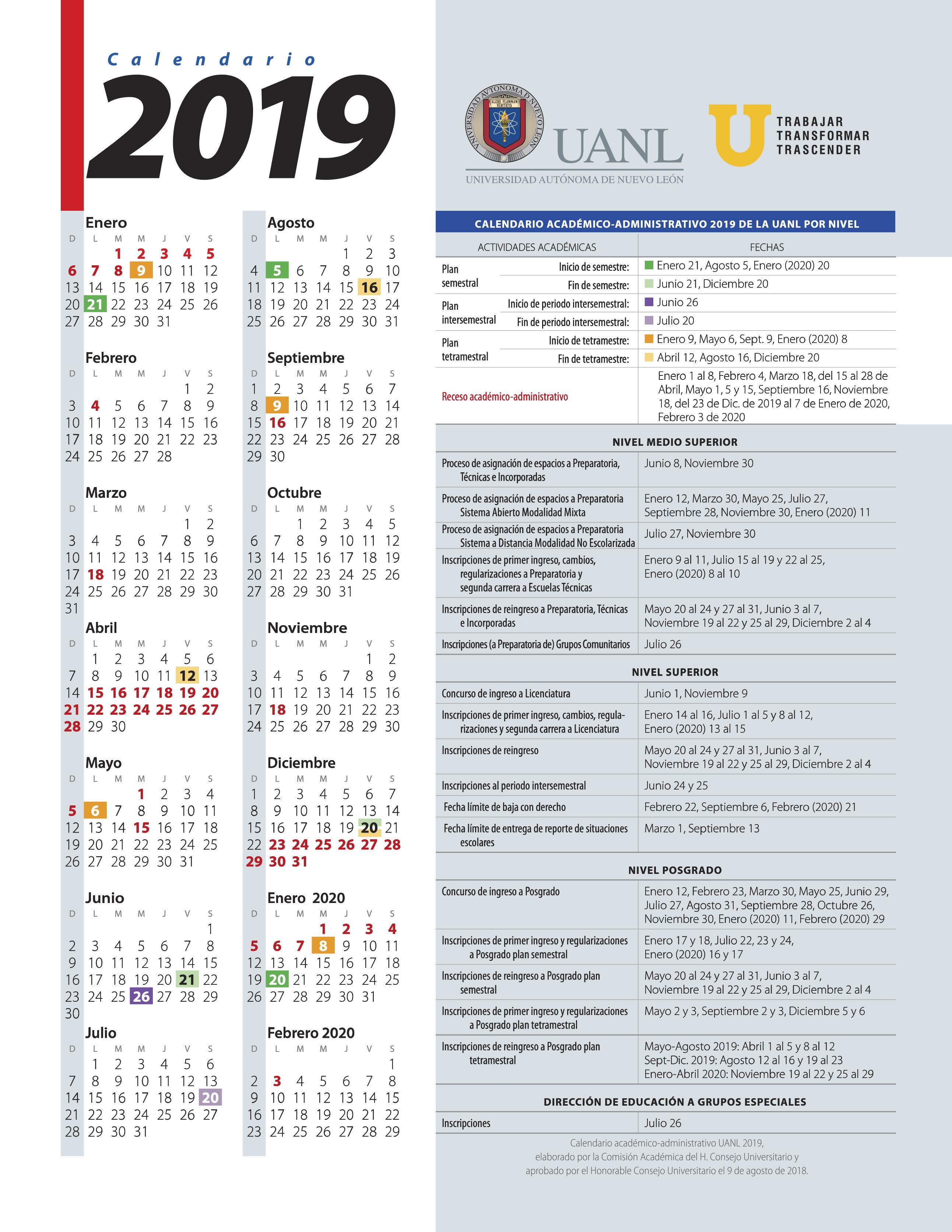 Calendario De Agosto 2020.Calendario Uanl 2019